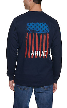 Ariat Men's Navy Flag Long Sleeve Graphic FR Work T-Shirt - Big & Tall Sizes