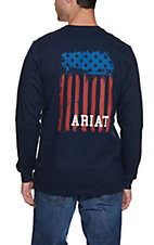 Ariat Men's Navy Flag Long Sleeve Graphic FR Work T-Shirt