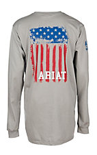 Ariat Men's Grey Flag Long Sleeve Graphic FR Work T-Shirt - Big & Tall