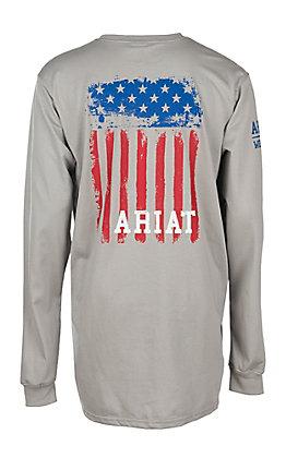 Ariat Men's Grey Flag Long Sleeve Graphic FR Work T-Shirt - Big & Tall