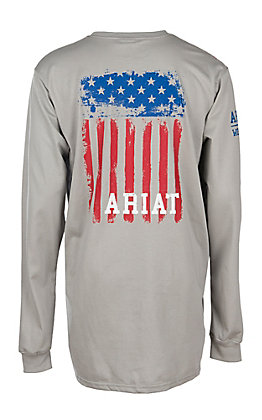 Ariat Men's Grey Flag Long Sleeve Graphic FR Work T-Shirt