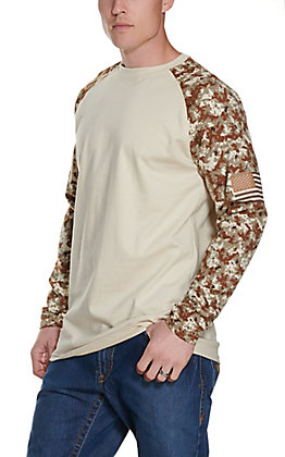 Ariat Men's Sand with Digi Camo FR Baseball Long Sleeve T-Shirt - Big & Tall