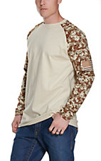 Ariat Men's Sand with Digi Camo FR Baseball Long Sleeve T-Shirt