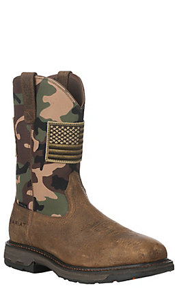 Ariat Men's Workhog Patriot Earth Brown and Woodland Camo with Flag Patch Steel Toe Work Boots
