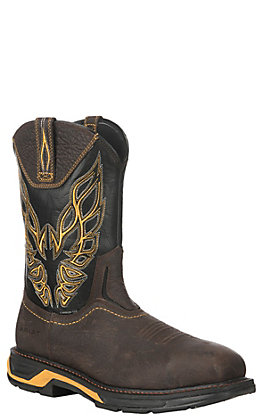 Ariat WorkHog XT Men's Firebird Brown & Black Wide Square Carbon Safety Toe Work Boots