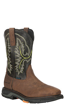 Ariat Workhog XT Men's Tumbled Bard & Dark Forest Waterproof Wide Square Carbon Safety Toe Work Boots
