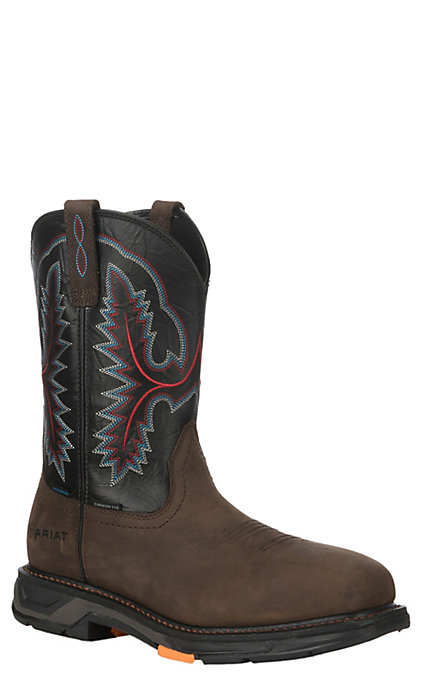 d4d8ec57c75 Ariat Men's Workhog XT Black and Oily Distressed Brown Wide Square Toe  Waterproof Work Boots