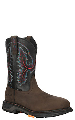 Ariat Men's Workhog XT Black and Oily Distressed Brown Wide Square Toe Waterproof Work Boots