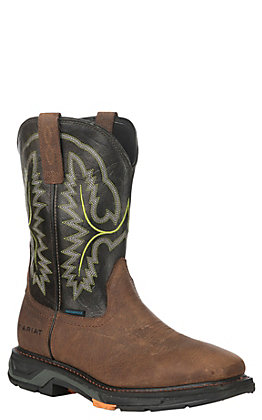 Ariat Men's WorkHog XT Tumbled Bark and Dark Forest Waterproof Wide Square Toe Work Boot