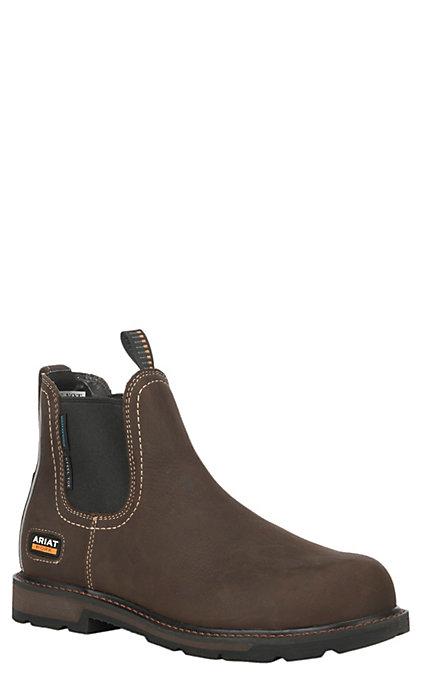 5bbacf25d37 Ariat Men's Groundbreaker Chelsea Dark Brown Round Steel Toe Waterproof  Work Boot