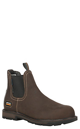 Ariat Men's Groundbreaker Dark Brown Waterproof Round Steel Toe Work Boot