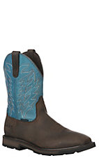 Ariat Men's Groundbreaker Dark Brown and Blue Wide Square Toe Waterproof Work Boot