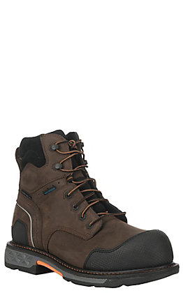 Ariat Men's Overdrive XTR Brown Waterproof Round Carbon Toe Lace Up Work Boot