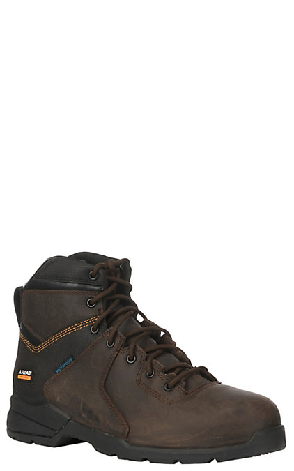 6a1a7292700 Ariat Men's Rebar Flex Protect Dark Brown Waterproof Round Safety Toe Lace  Up Work Boot