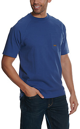 Ariat Men's Rebar Cotton Strong Metal Blue Short Sleeve T-Shirt