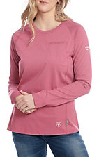 Ariat Work FR Women's Pink HRC2 Polartec Crew Neck Long Sleeve Flame Resistant Shirt