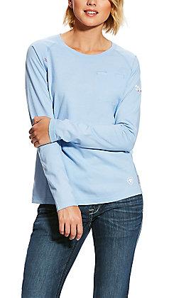 Ariat Women's FR Air Crew Cerulean Sea Blue T-Shirt
