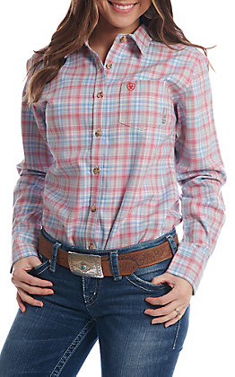 Ariat Women's Pink And Blue Plaid FR Work Shirt