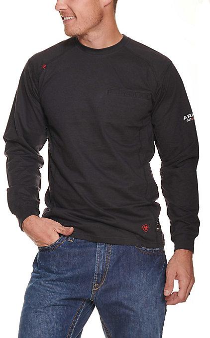 c61c62bd Ariat Men's Black FR Air Crew Long Sleeve T-Shirt