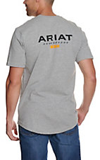 Ariat Men's Heather Grey Rebar CottonStrong Logo T-Shirt
