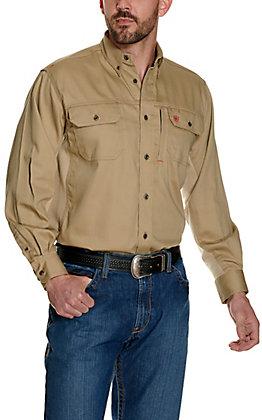 Ariat Men's Flame Resistant Khaki Solid Vent Work Shirt