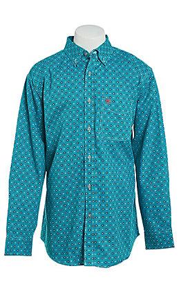 Ariat FR Men's Bluebird Geo Print Long Sleeve Work Shirt