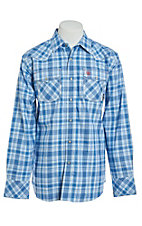 Ariat Men's Magnus Blue Plaid Retro Snap Work Shirt