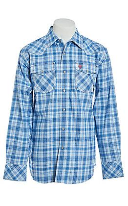 Ariat Men's Magnus Blue Plaid Retro Snap Work Shirt