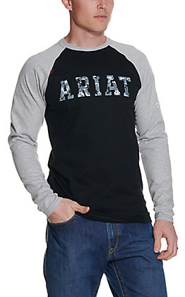 Ariat Men's Black and Grey FR Camo Logo Long Sleeve Work Shirt