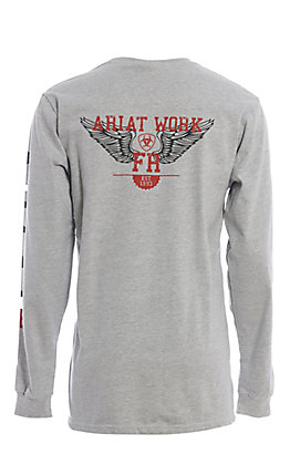 Ariat Work FR Men's Grey Crew Neck Long Sleeve Flame Resistant Shirt