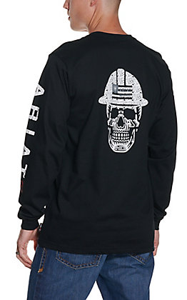Ariat Men's Black Roughneck Skull Logo Long Sleeve FR Work T-Shirt