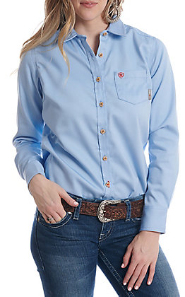7311656122 Ariat Women s Flame Resistant Solid Blue Basic Work Shirt