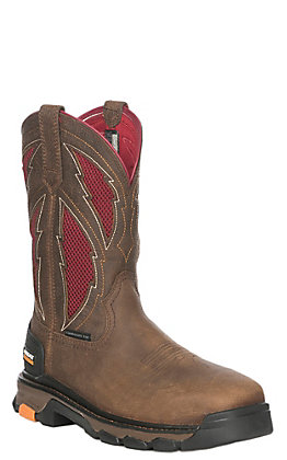 Ariat Men's Intrepid Brown and Red VentTEK Square Composite Toe Work Boot
