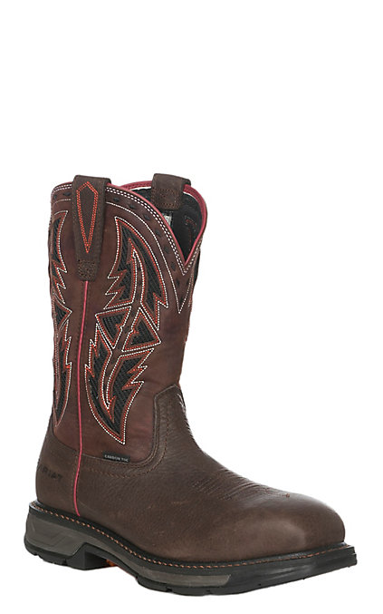 6da9f7ccb01 Ariat Men's Dark Chocolate Workhog XT VentTEK Spear Wide Square Carbon Toe  Work Boot
