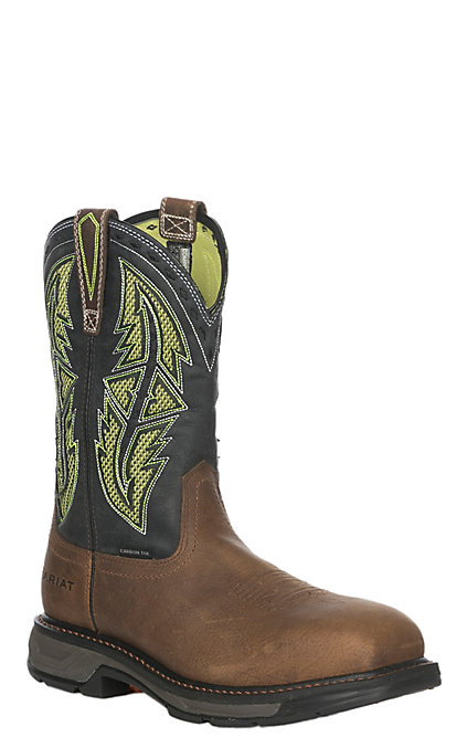 b2a0cf479c1 Ariat Workhog XT VentTEK Spear Men's Rye Brown and Lime Wide Square Carbon  Toe Work Boots
