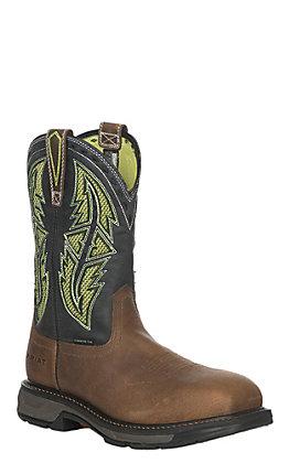 Ariat WorkHog XT VentTEK Men's Rye Brown & Lime Wide Square Carbon Toe Work Boots