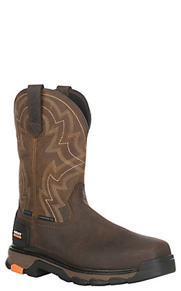 Ariat Men's Earth with Distressed Brown Upper Intrepid Force H20 Square Composite Toe Work Boot