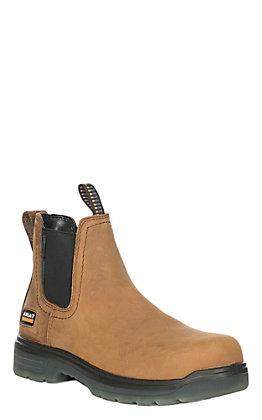 Ariat Men's Turbo Aged Bark Waterproof Round Carbon Toe Slip On Work Boot