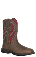 Ariat Men's Rye Brown with Red Upper Rigtek Venttek Wide Square Composite Toe Work Boot