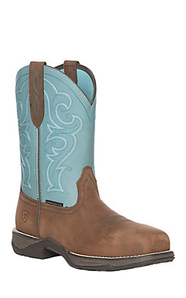 Ariat Women's Anthem Latigo Brown and Arctic Square Composite Toe Work Boot
