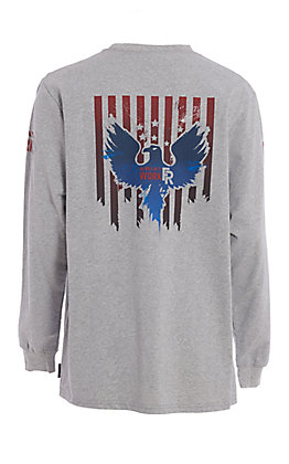 Ariat Work FR Men's Freedom Eagle Heather Grey HRC2 Long Sleeve Work Shirt