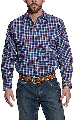 Ariat Men's Blue & Red Plaid Long Sleeve FR Work Shirt