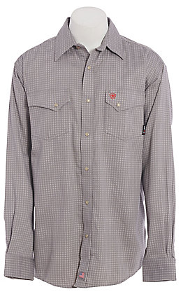 Ariat FR Men's Grey Plaid Long Sleeve Work Shirt