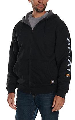Ariat Rebar Men's Black 10 OZ All Weather Full Zip Graphic Hoodie Jacket