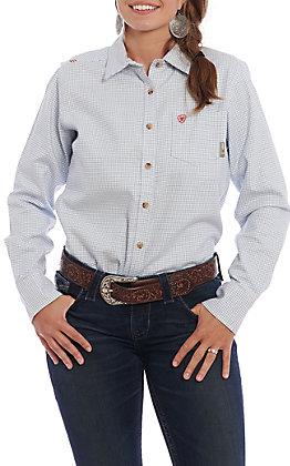 Ariat FR Women's White Plaid Long Sleeve Work Shirt