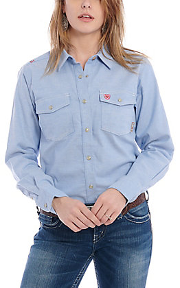 Ariat Women's Blue Twill Solid DuraStretch Long Sleeve FR Snap Work Shirt