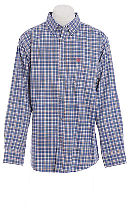 Ariat FR Men's Navy Blue Plaid Long Sleeve FR Work Shirt
