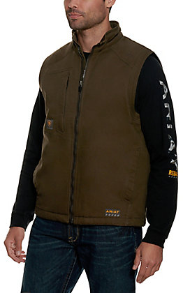 Ariat Rebar Men's Washed Brown 9 OZ Full Zip Vest