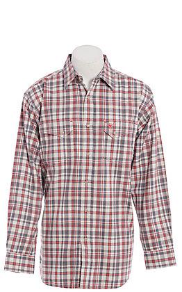 Ariat FR Men's Carbon Salt Red & Grey Plaid Long Sleeve FR Work Shirt