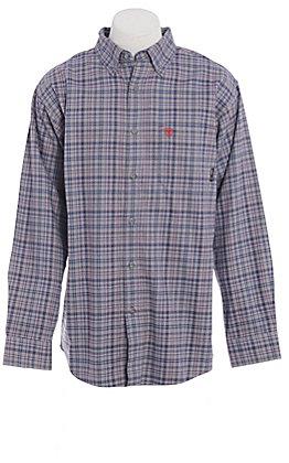 Ariat FR Men's Cherokee Grey & Pink Plaid Long Sleeve Work Shirt